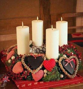 Новогодний декор,свечи,композиция