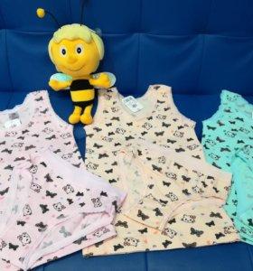 Новый комплект белья для девочки трусики и майка