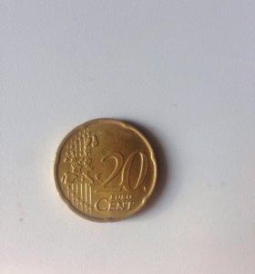 Монета 20 центов 2002 года