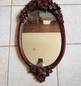 Зеркало овальное виноград