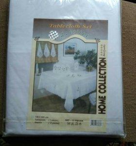 Новая белая скатерть 150*220 с салфетками