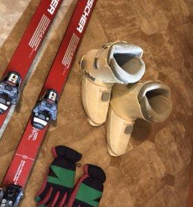 Горные лыжи+ палки+ ботинки+ перчатки