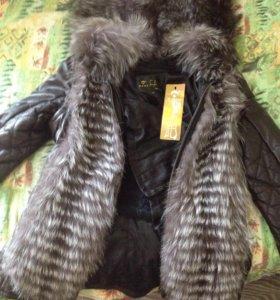 Курточка кож с нат мехом