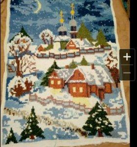 Картина новогодняя (вышивка болгарским крестиком)