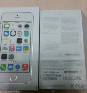 Коробка Iphone 5s 16gb silver и 2 чехла