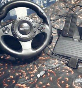 Игровой руль с педалями Defender Forsage Drift GT