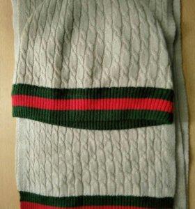 Комплект GUCCI, шарф+шапка, 30% шерсть