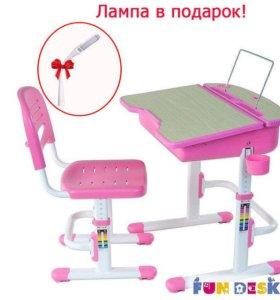 Детская парта и стул для дома FunDesk Capri +лампа