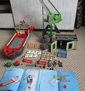 Playmobil грузовой корабль и портовый кран