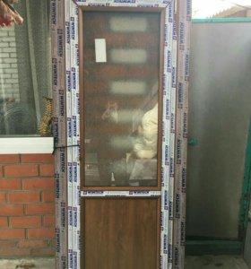 Дверь метало пластиковая,с 2 старон золотой дуб+ о