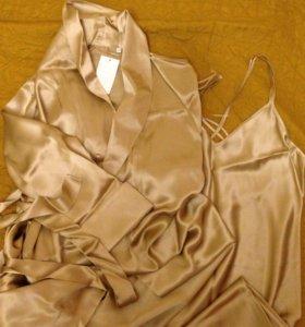 Пеньюар шёлковый золотого цвета