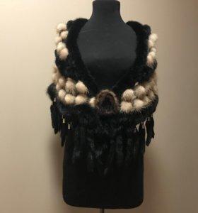 Шаль норковая чёрный+бежевый цвета