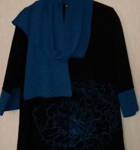 Кардиган джемпер женский на молнии черный с шарфом