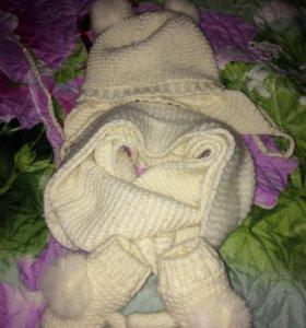 Шапка снуд перчатки