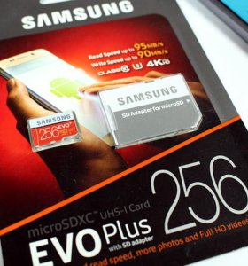 Карта памяти microsd Samsung EVO Plus 256gb
