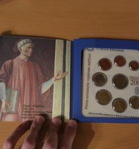 набор монет евро италия 2002 года