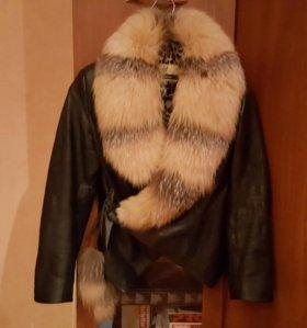 Куртка 42р натур мех и кожа укороченная