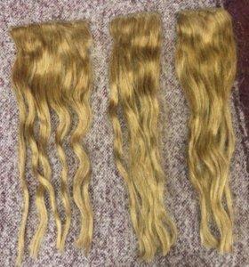 Волосы на заколках натуральные (русо-золотистые)