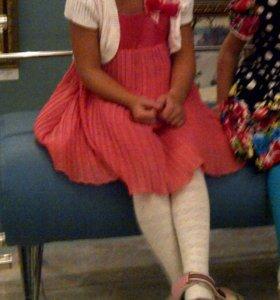 Платье нарядное шелк+плиссе на 3,5—5л, 98—110см