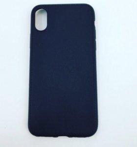 Чехол iPhone X кожа черный