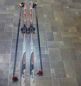 Лыжи,палки,ботинки,крепления