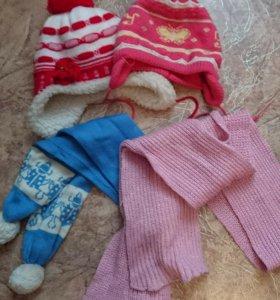 Шапки и шарфики на девочку.