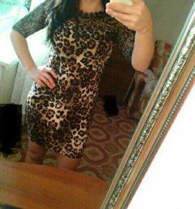 Платье Леопардовое облегающее Итальянское