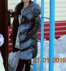 Пуховик зимний кожаный