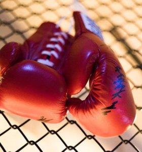 Боксёрские перчатки кожзам на шнуровке
