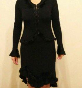 Костюм, трикотаж, кофта и юбка