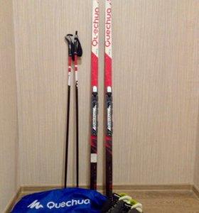Лыжы ,ботинки,лыжные палки+чехол полный комплект