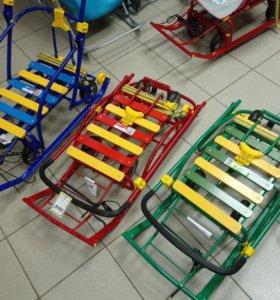 Санки с выдвижными колесами полностью складные