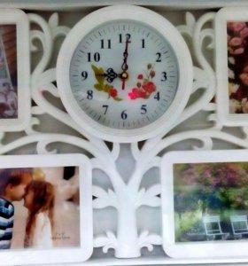 мультирамка с часами на 4 фото