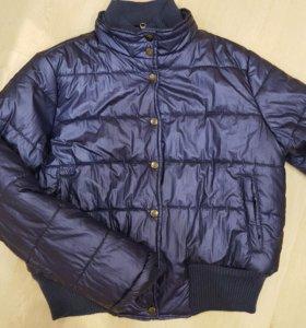 Куртка бомбер металлик синий