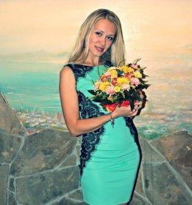 Вечернее платье бирюзового цвета. Размер 42-44