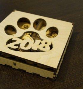 Новогодний сувенир, шары с символикой Год Собаки