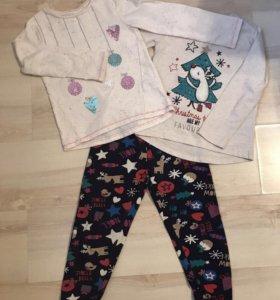 Новогодняя пижама (3 ед) на 5-6 лет 110-116 см