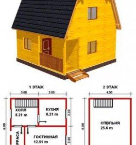 Каркасны дом 6х6 на винтовых сваях