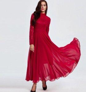 Красное платье в пол 44 р-р аренда