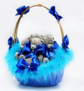 Корзинка с медведями синяя