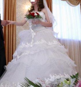 Свадебное платье+фата и диадема в подарок