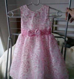 Платье для девочки, бело-розовое, размер 98