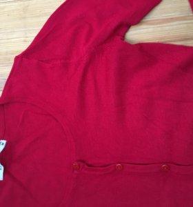 Красный кардиган кофта