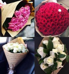Розы цветы в коричневой бумаге спб