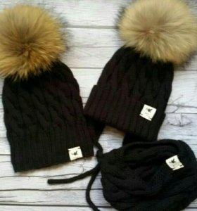 Комплект зимний familylook для мамы и ребенка шапк