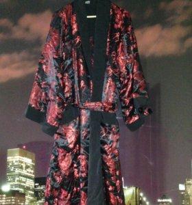 """Двусторонний халат - кимоно из шелка """"Черный"""