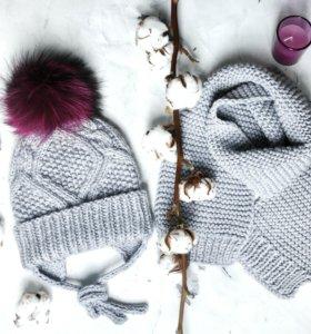 Шапка и шарф (снуд) вязаные