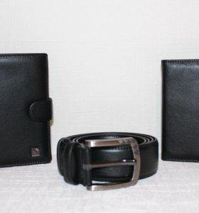 Подарочный набор (портмоне, ремень, обложка)Кожа