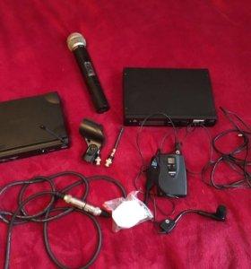 Микрофоны shure- вокальный и головной с наушниками