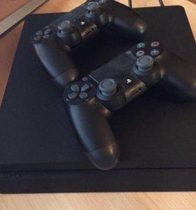 PlayStation 4 ps4 + 2 джойстика + игры